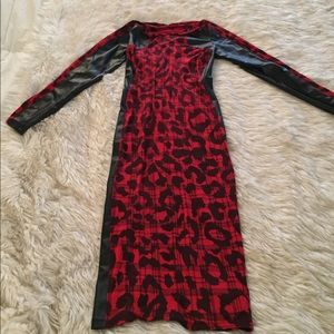 Dresses & Skirts - Stylish Red Leopard Print Dress w/ leather detail